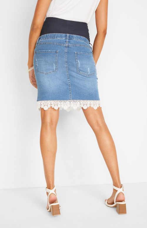 Tehotenská džínsová sukňa s čipkou