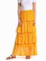 Bodkovaná sukňa s volánmi v maxi dĺžke v čiernej alebo žltej farbe
