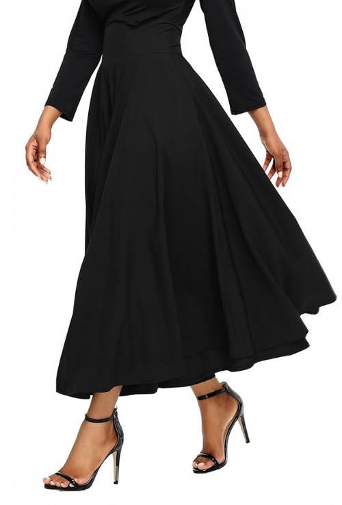 Čierna maxi sukňa s vysokým pásom