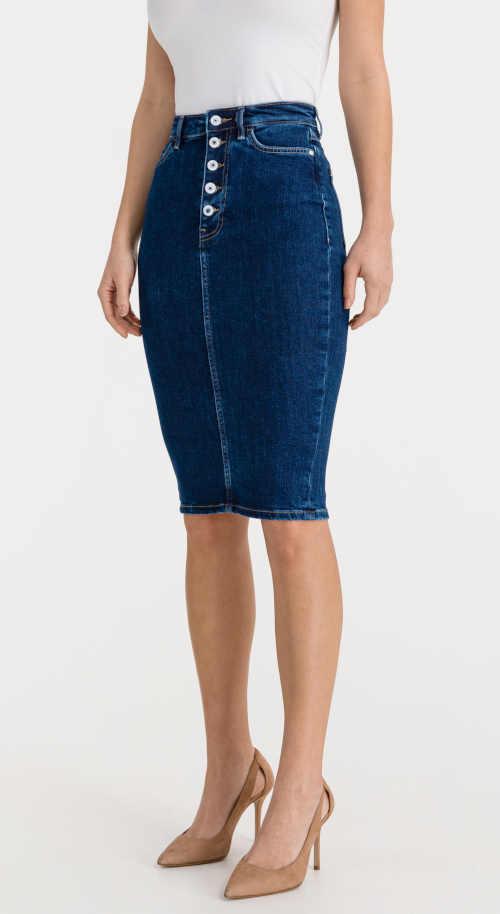 Dámska štýlová džínsová sukňa Guess ktorá lichotí postave