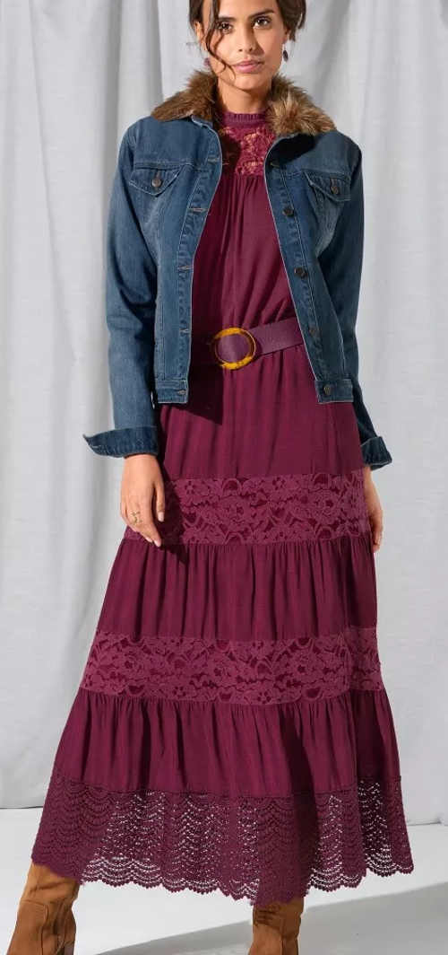 Dlhá čipkovaná sukňa vo farbe slivky