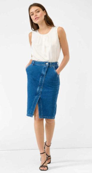 Džínsová sukňa v midi dĺžke s rozparkom vpredu