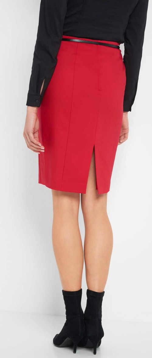 Elegantná červená spoločenská sukňa s rozparkom