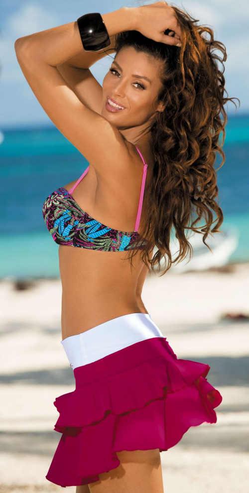 Fialová riasená plážová sukňa s bielym pásom