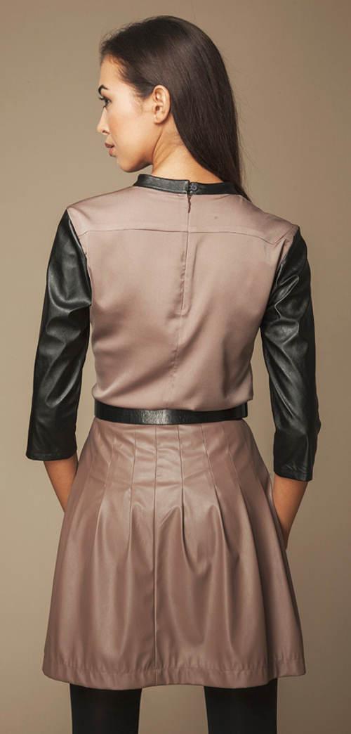 Hnedá lesklá sukňa