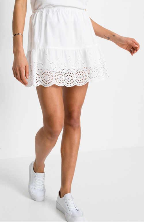 Krátka biela sukňa Bonprix