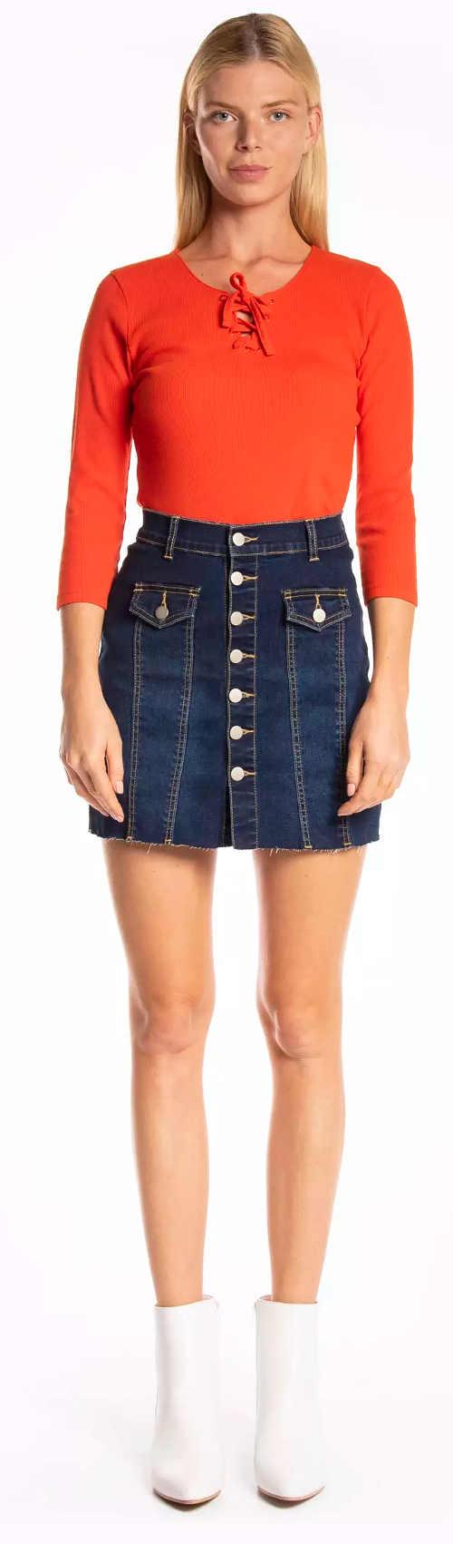 Krátka džínsová sukňa s gombíkmi vpredu po celej dĺžke