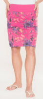 Lacná ružová letná sukňa s kvetinovou potlačou