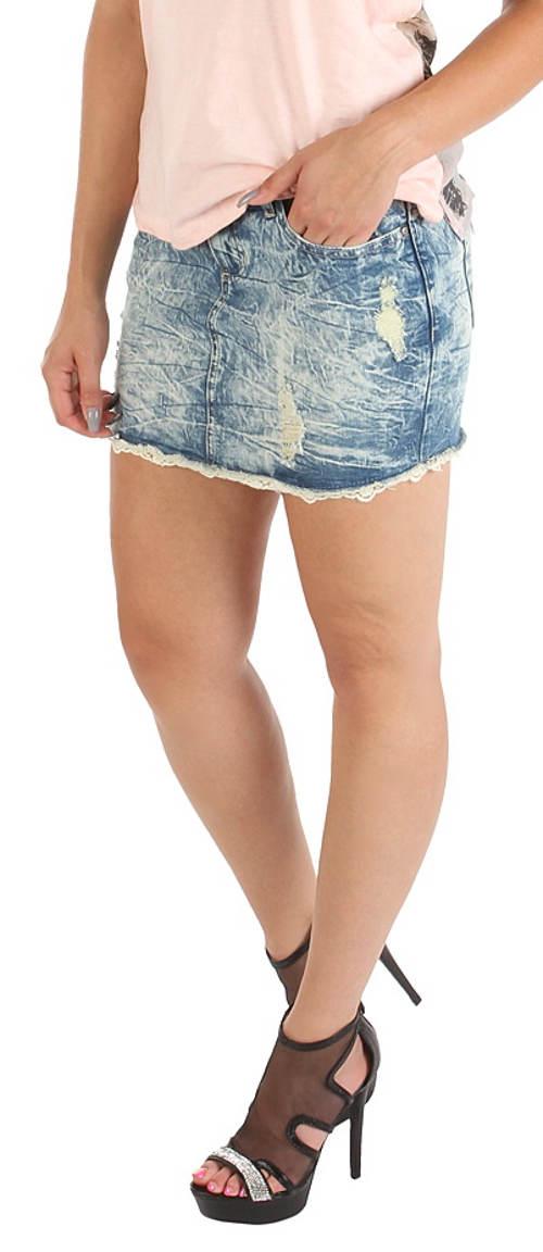 Lacná šifónová džínsová minisukňa