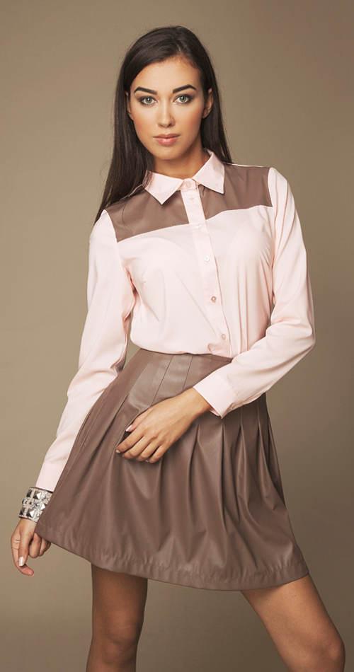 Lesklá sukňa s prešívaním a skladmi