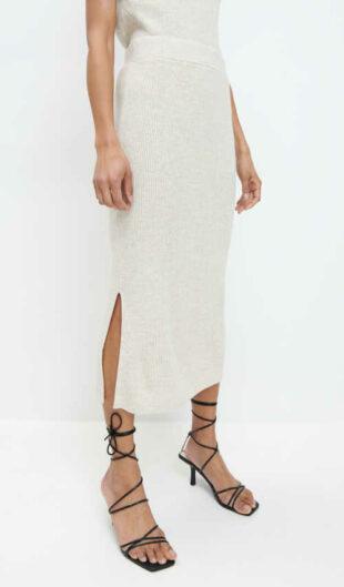 Moderná pletená sukňa v midi dĺžke s elastickým pásom