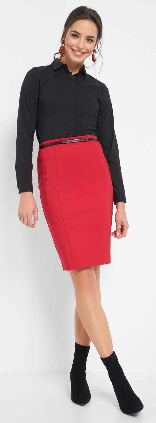 Rovná červená dámska formálna sukňa s dĺžkou po kolená