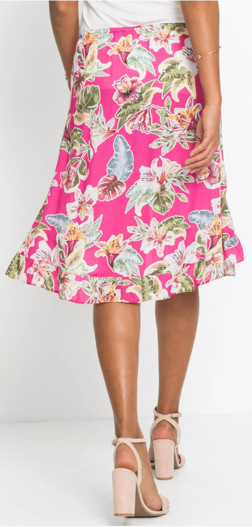 Ružová letná sukňa po kolená
