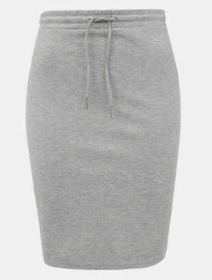 Šedá pletená sukňa s rukávmi a šnúrkou v páse