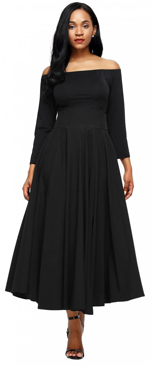 Široká čierna sukňa so slávnostným opaskom