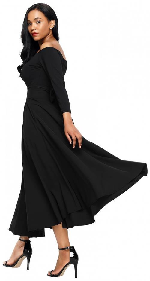 Široká čierna sukňa v španielskom štýle