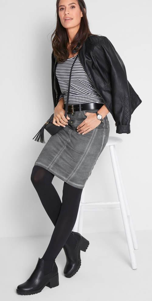 Sivá midi sukňa s legínami