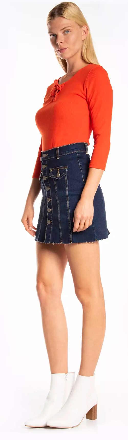 Tmavomodrá džínsová minisukňa pre mladých