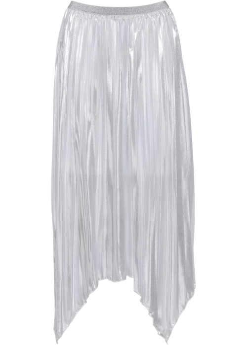 Asymetrická dlhá plisovaná sukňa v kovovom dizajne
