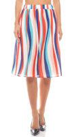 Dámska letná farebná sukňa v modernom pruhovanom vzore