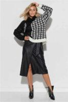 Dámska zavinovacia sukňa v midi dĺžke z imitácie kože