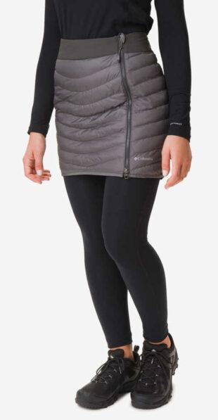 Dámska zimná prešívaná sukňa v sivej farbe z nepremokavého materiálu