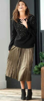 Dlhá zlatá plisovaná dámska sukňa