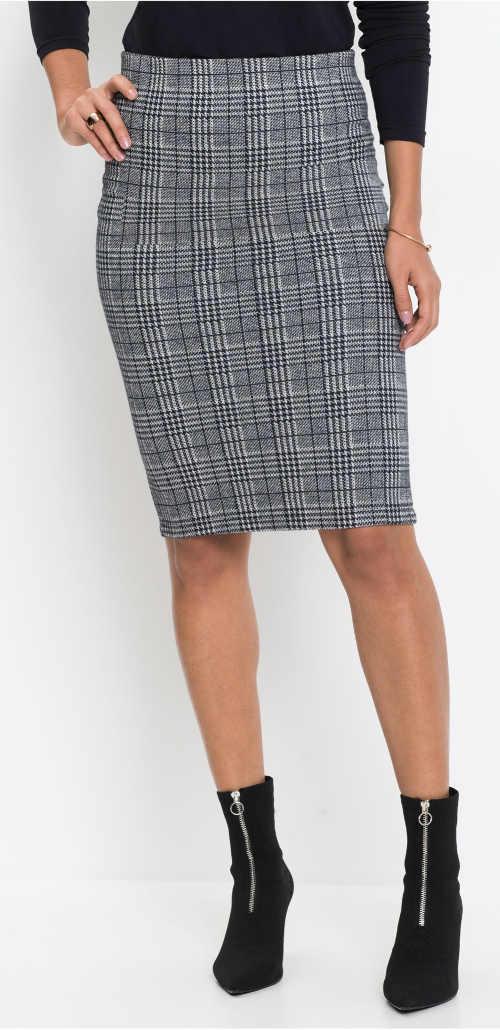 Elastická šedá žakárová sukňa v tvare ceruzky