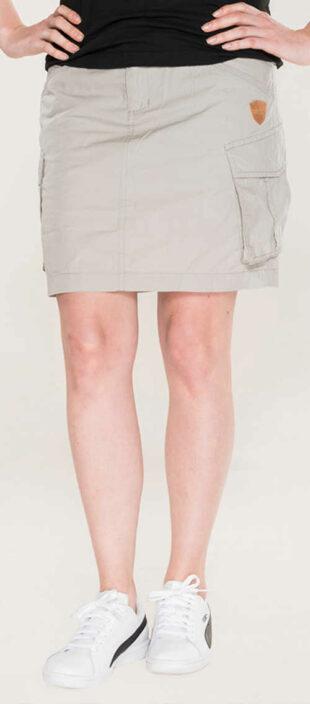 Krátka sivá sukňa s veľkými bočnými vreckami