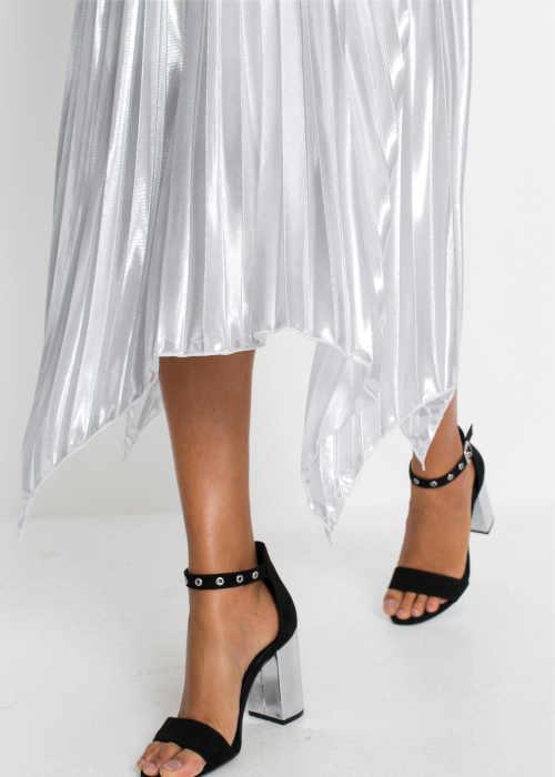 Plisovaná kovová dlhá sukňa