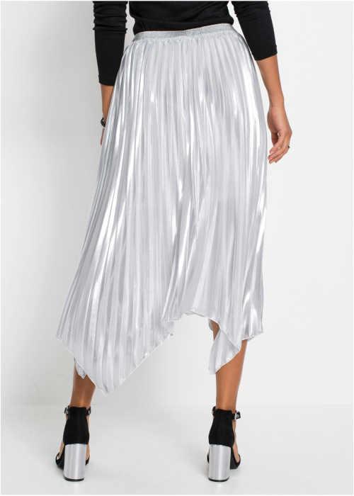 Plisovaná sukňa v striebornej metalíze