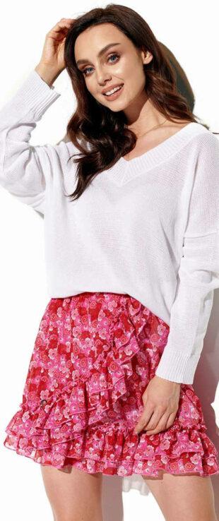 Ružovo-červená mini sukňa s volánom Lemoniade LG520