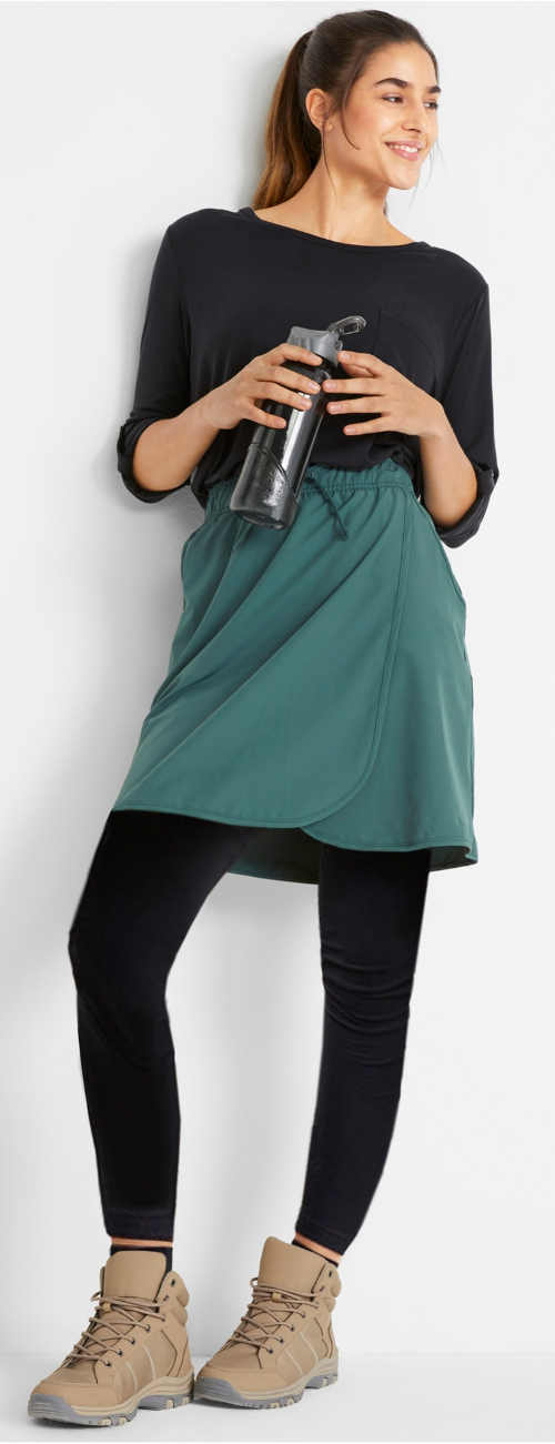 Tyrkysová športová sukňa so zavinovacím strihom