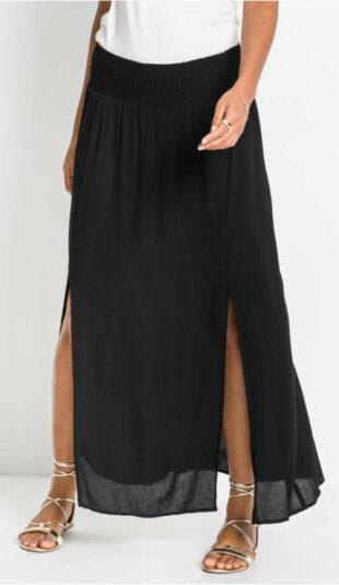 Dlhá čierna dámska sukňa s rozparkami