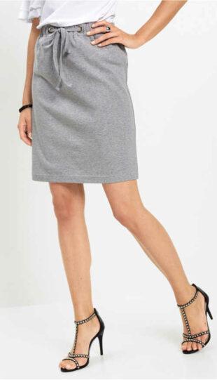 Lacná sivá sukňa so šnúrkou v páse
