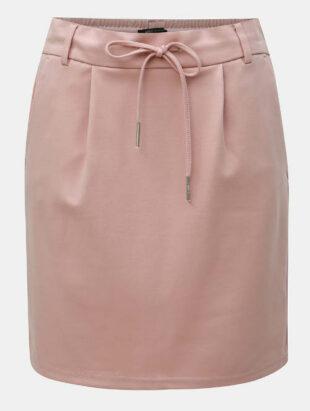 Svetloružová krátka rovná sukňa bez vzoru
