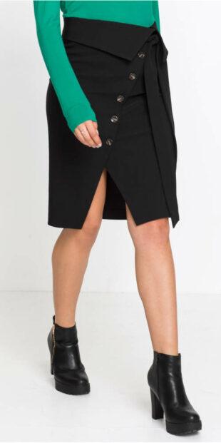 Zavinovacia formálna sukňa s gombíkovou légou